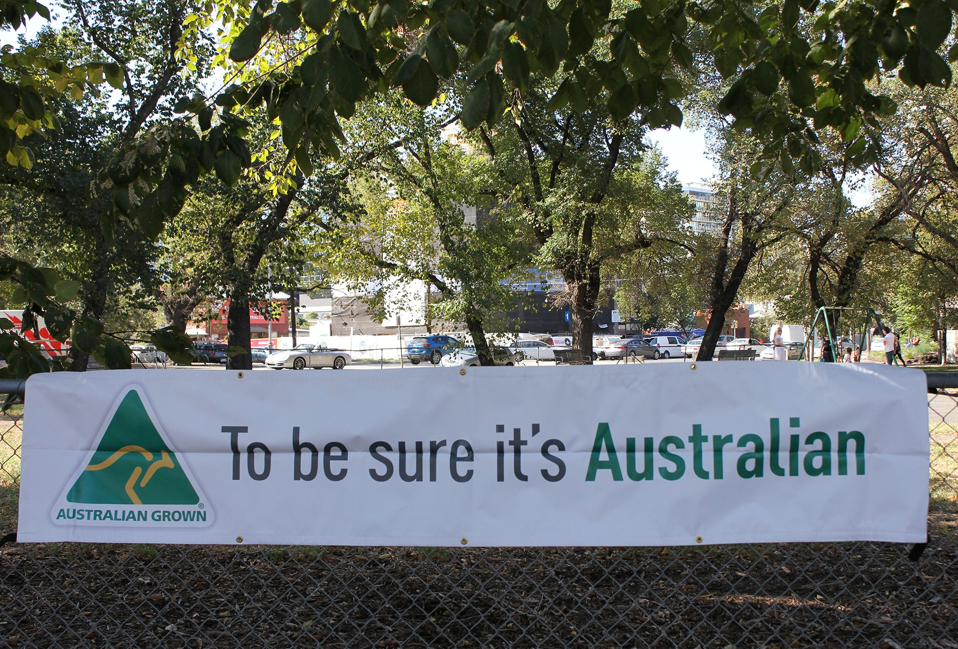 Australian Grown hanging banner Image
